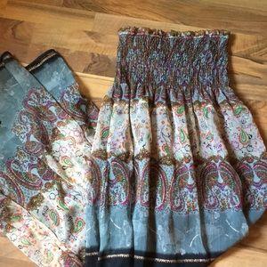 DAYTRIP Strapless Boho Maxi Dress Paisley Med.